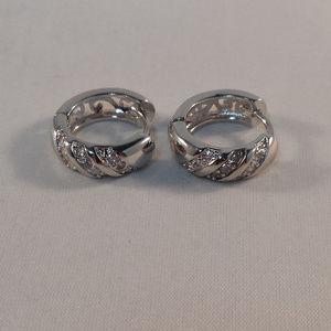 Jewelry - 18K White Gold Sapphire Crystal Hoop Earrings